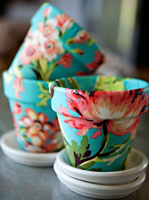 Fabric Covered Terra Cotta Pots