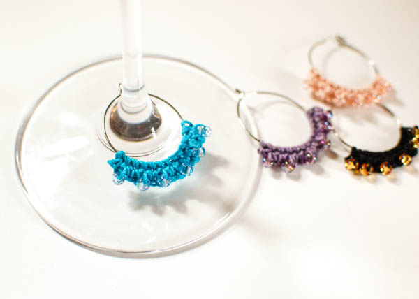 crocheted wine charms