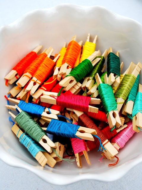 CLothespin Embroidery Floss DIY