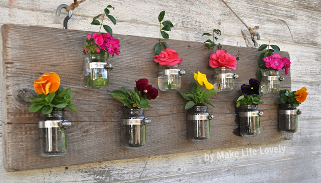 DIY Food Jar Vase Wall