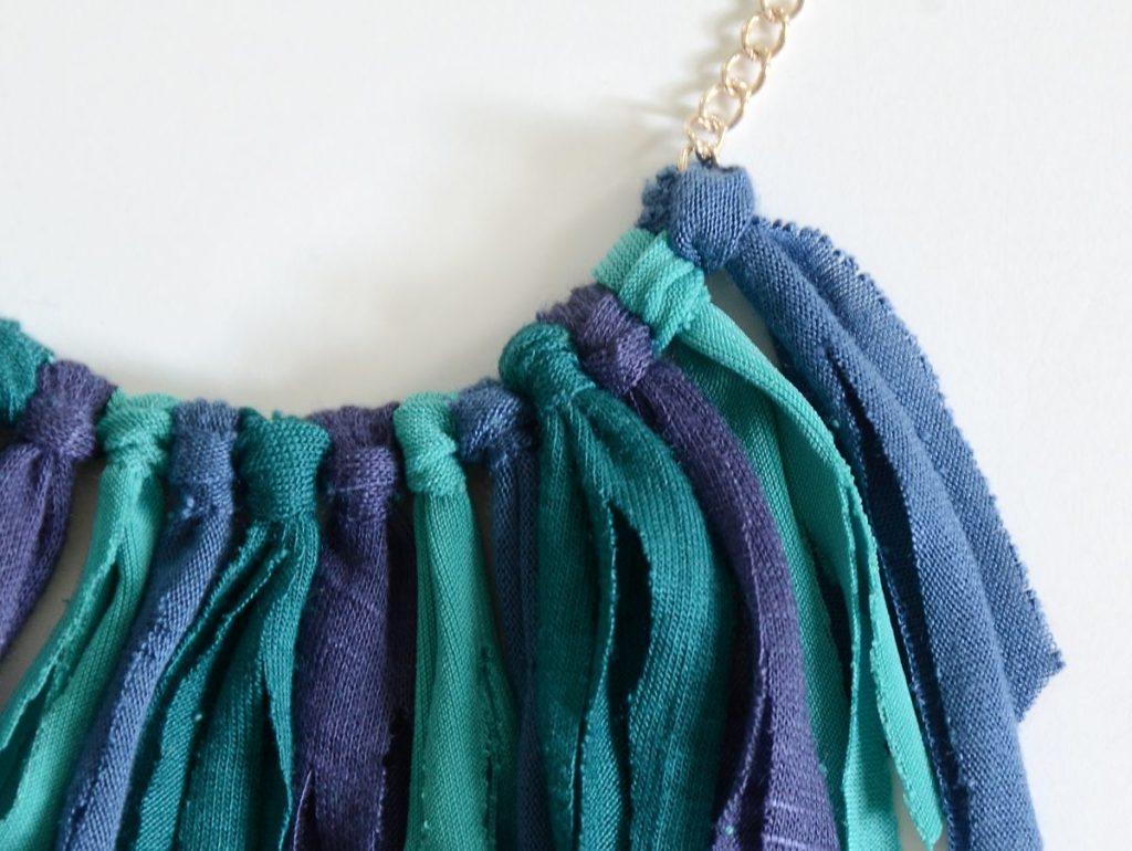 DIY Fringe necklace closer look