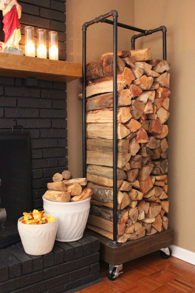 DIY Pipe Firewood Holder