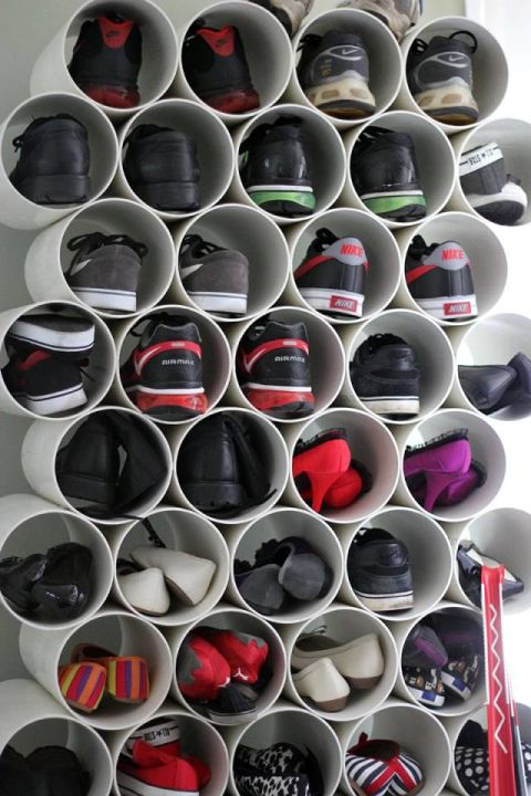 DIY Pipe Shoe Rack
