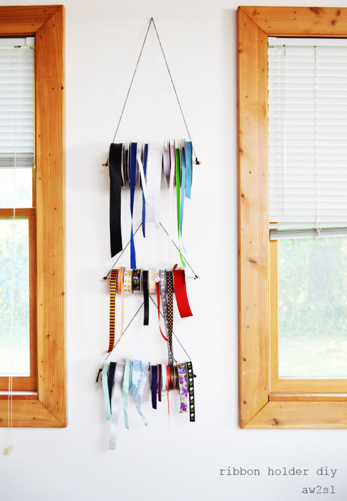 DIY Ribbon Wall Storage