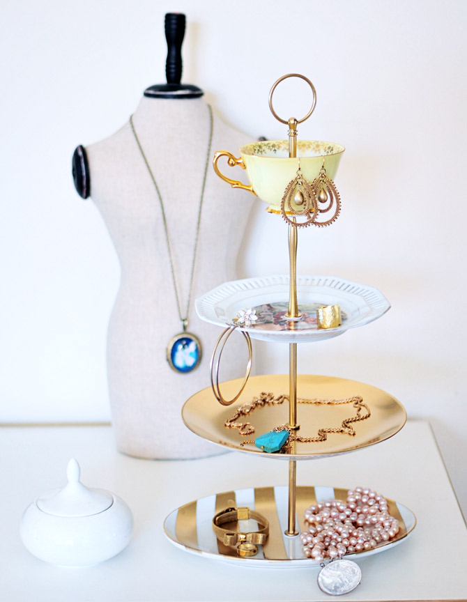 DIY Tiered Jewelry Holder