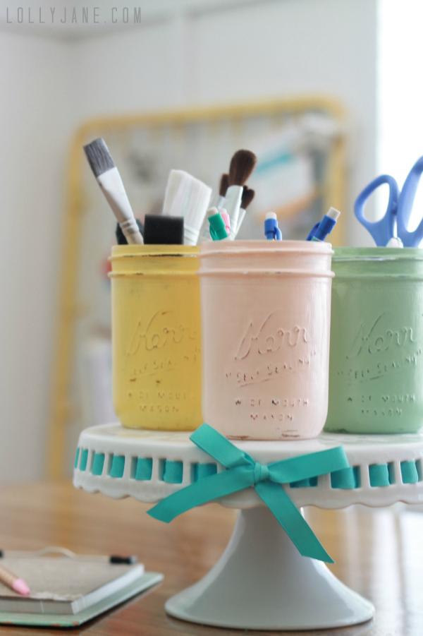 Distressed Mason Jars Carft Storage
