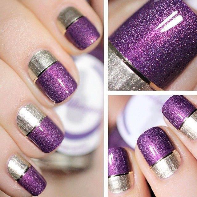 25 simple nail art tutorials for beginners glitter colorblock nail tutorial prinsesfo Choice Image