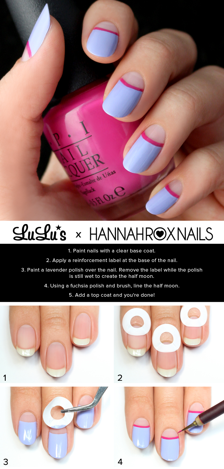25 simple nail art tutorials for beginners half moon nail art prinsesfo Choice Image