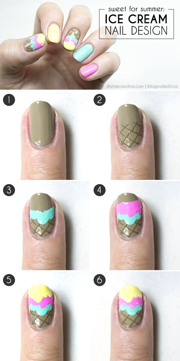 25 simple nail art tutorials for beginners ice cream cone nail art prinsesfo Choice Image