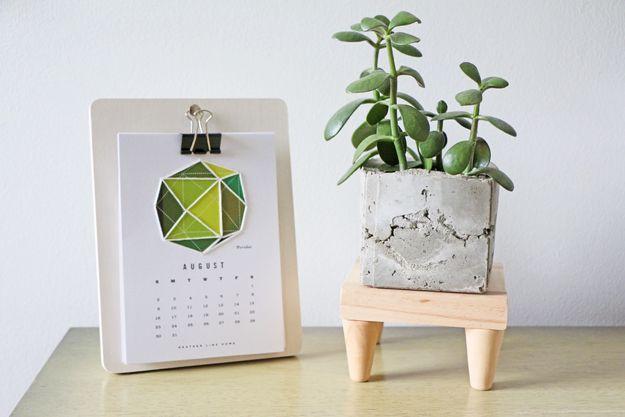 Mid century modern plant stand display