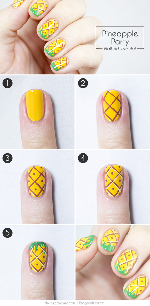 25 simple nail art tutorials for beginners pineapple nail art prinsesfo Choice Image