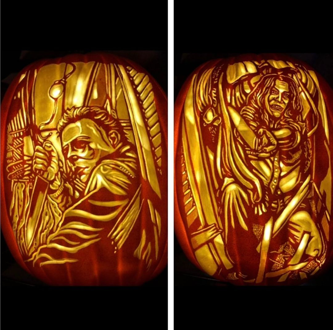 Pumpkin carving with horror movie scenes