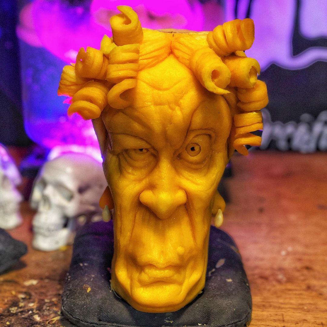 Scary pumpkin carving ideas suspicious female