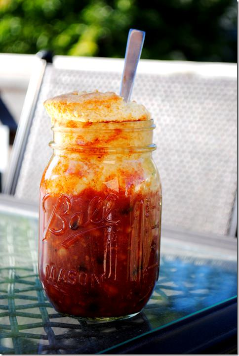Sweet and Spicy Chili with Cornbread Topping Mason Jar