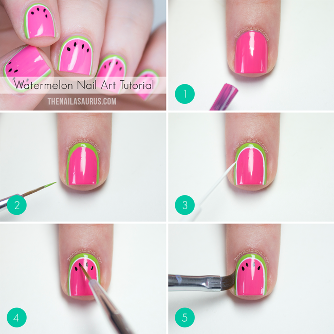 25 simple nail art tutorials for beginners watermelon nail art tutorial prinsesfo Image collections