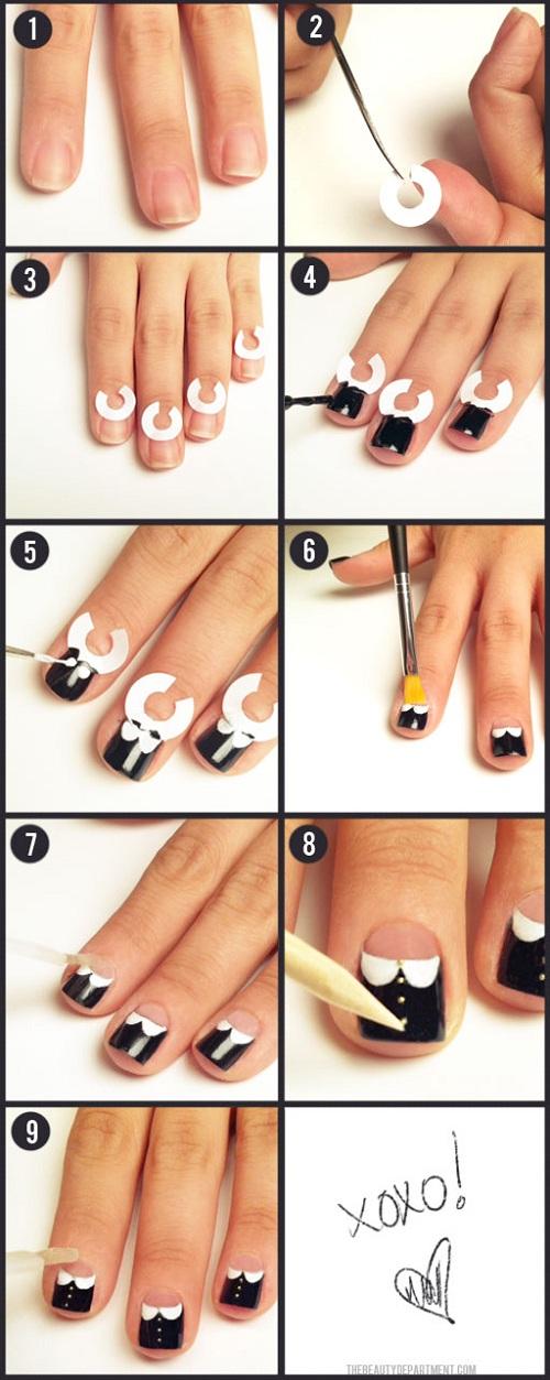 White collar nail tutorial
