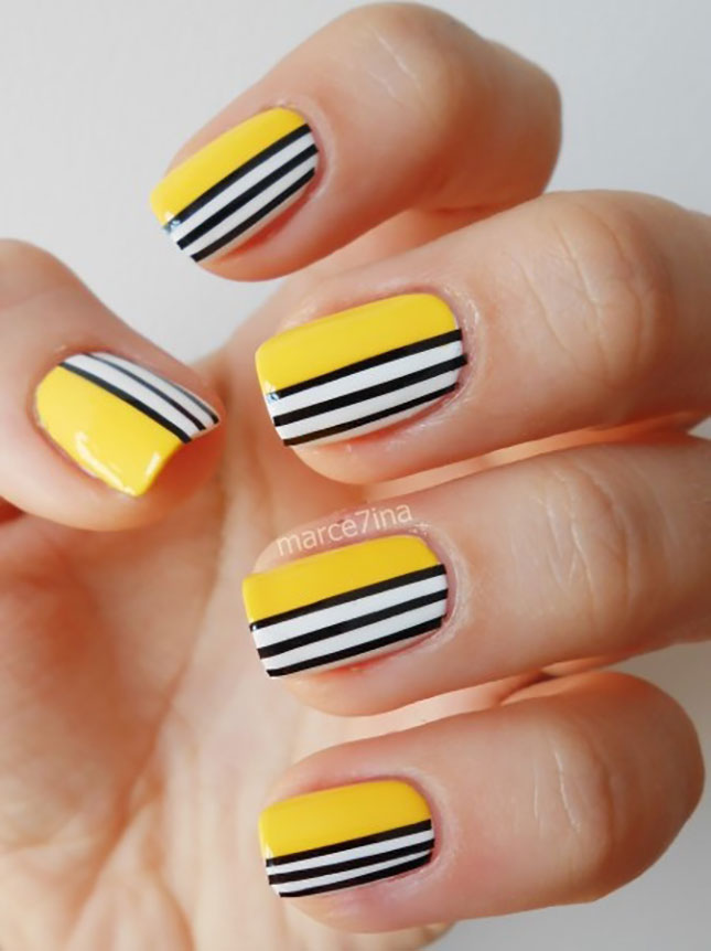 Yellow Black Nail Art - 25 Simple Nail Art Tutorials For Beginners