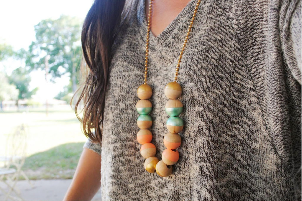 colorful painted wooden necklace