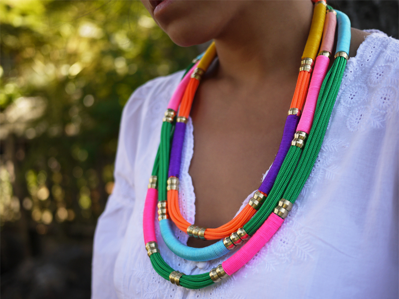 colorful utility rope necklace