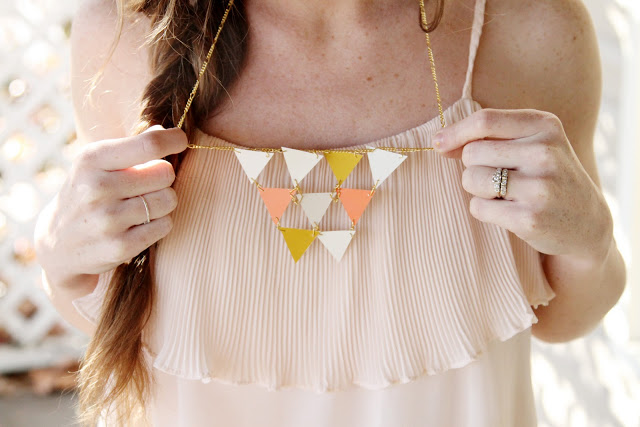 geometric triangle necklace DIY