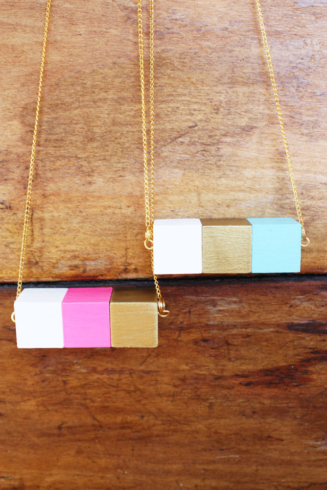 painted block necklace