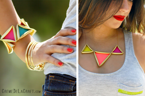 triangle neon necklace bracelet