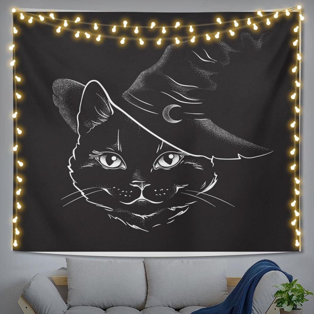 Black cat tapestry cute halloween decorations