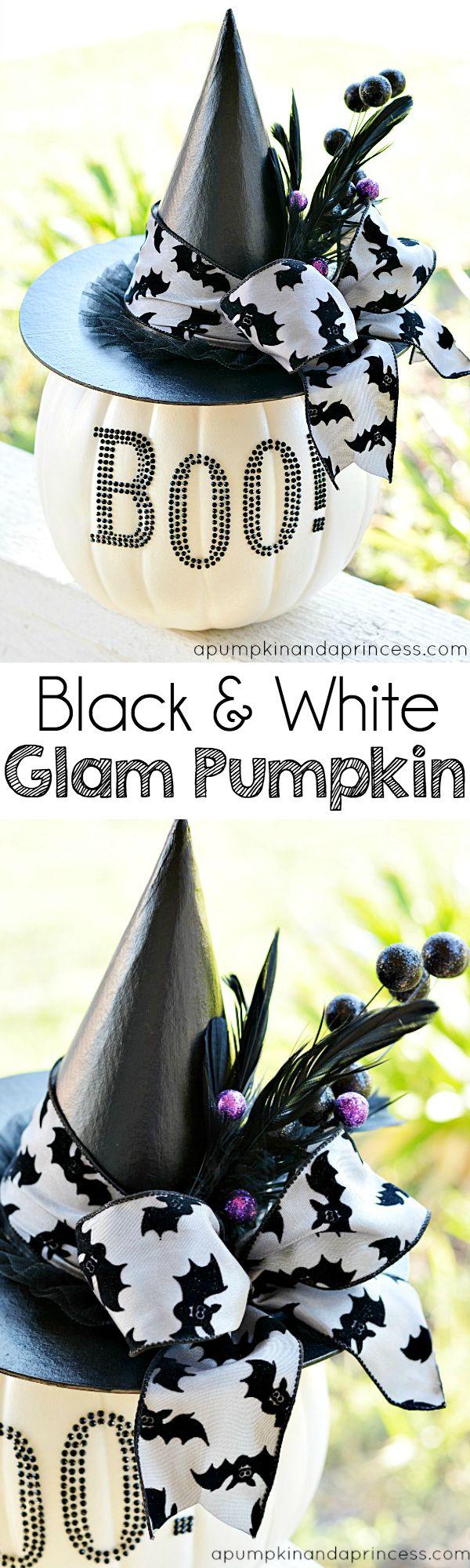 Black-and-White-Glam-Pumpkin DIY