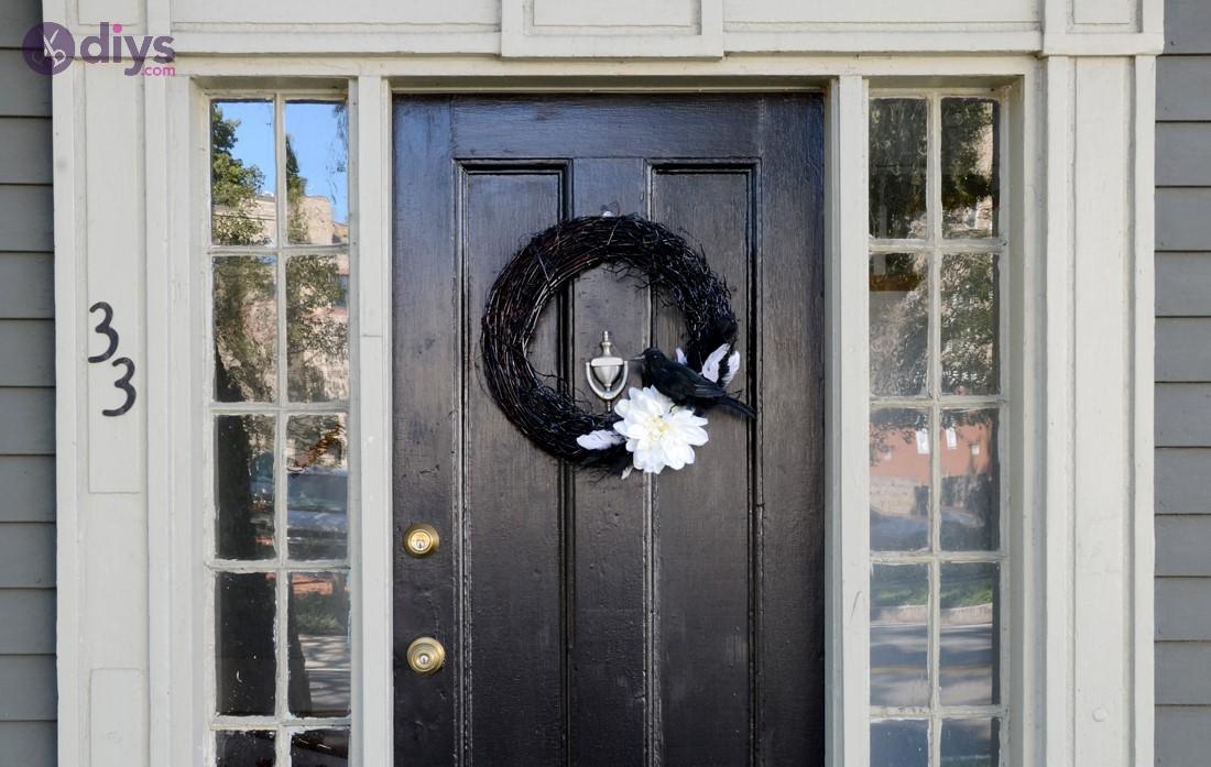 Black and white vine wreath halloween aesthetic