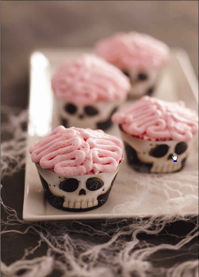 brains cupcakes - Halloween Inspired Cupcakes