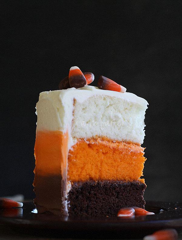 Candy Corn Halloween Cake