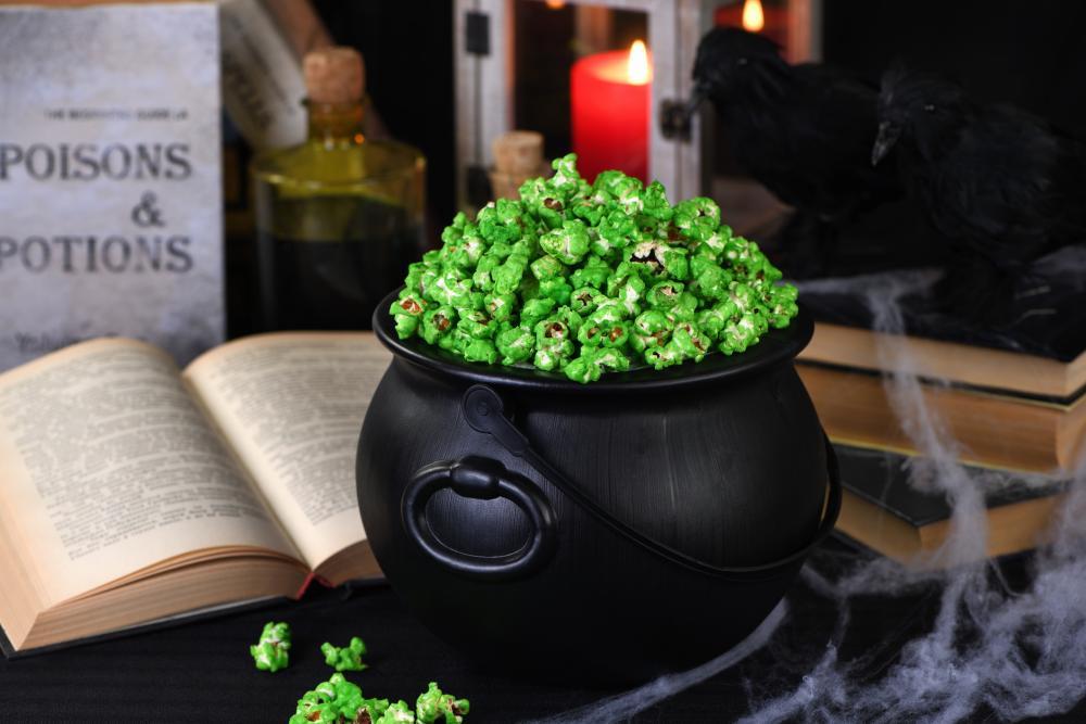 Cauldron with zombie boogers popcorn