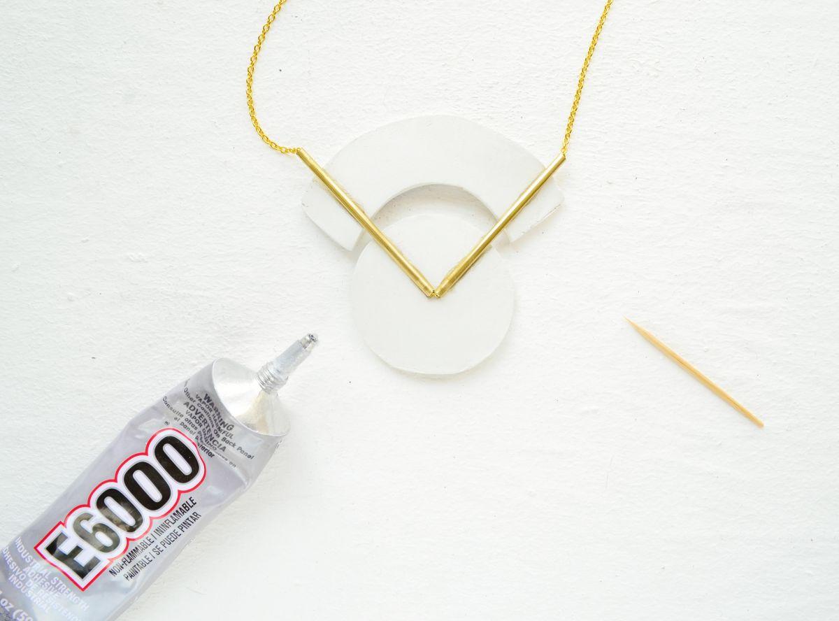 DIY Geometrical Brass Necklace Glue
