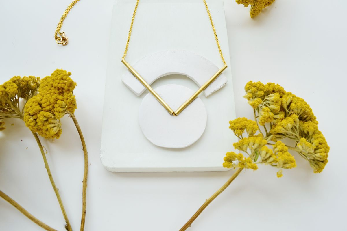 DIY Geometrical Brass Necklace Project