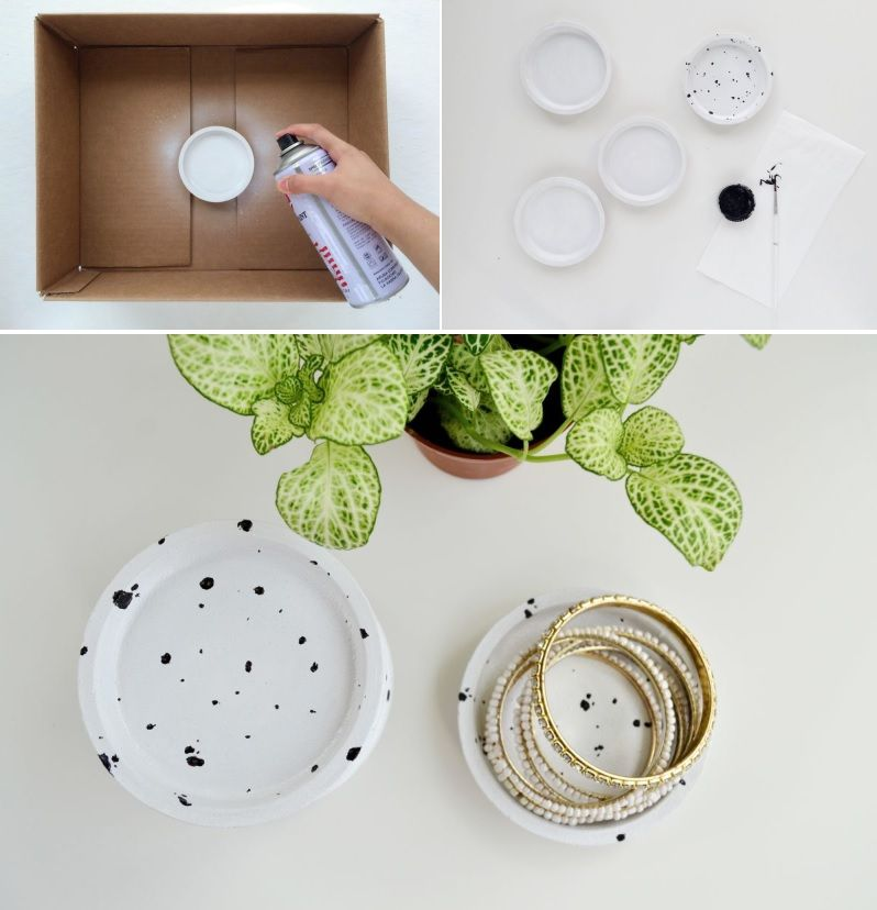 DIY Speckled Jewelry Dish from Coasters Project