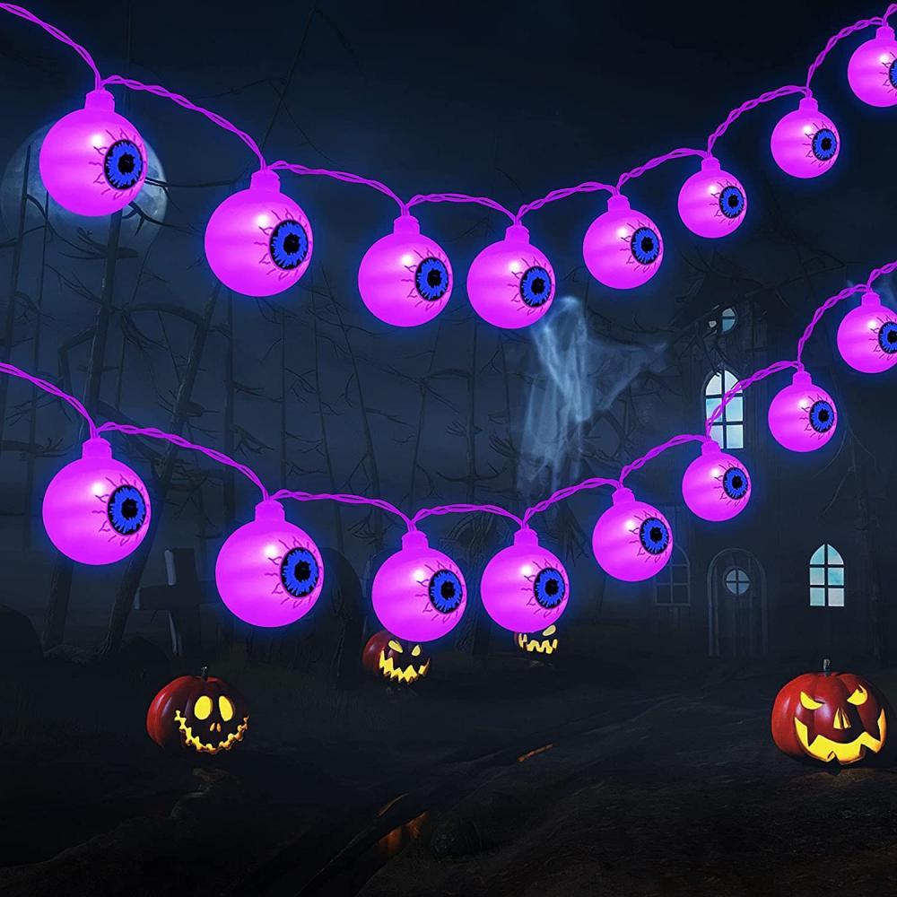 Eyeball string lights halloween decoration ideas