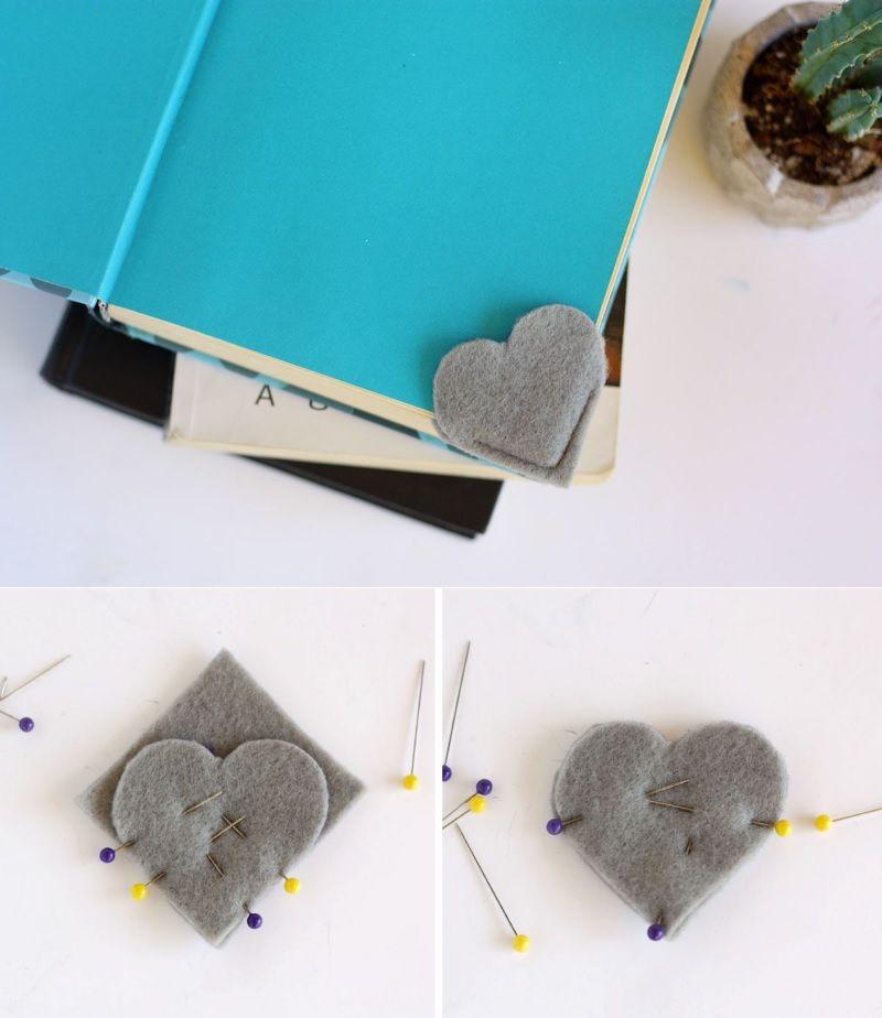 Felt DIY Heart Bookmark collage