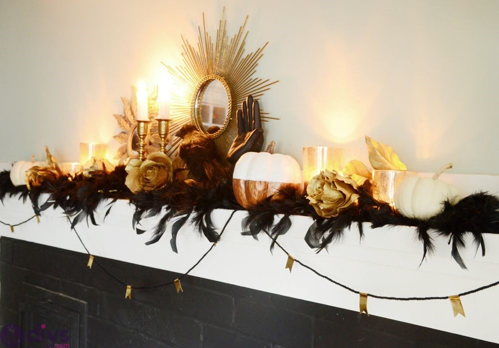 Fireplace mantel for halloween table decor ideas
