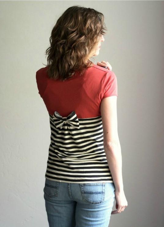 Gathered Back T shirt Refashion