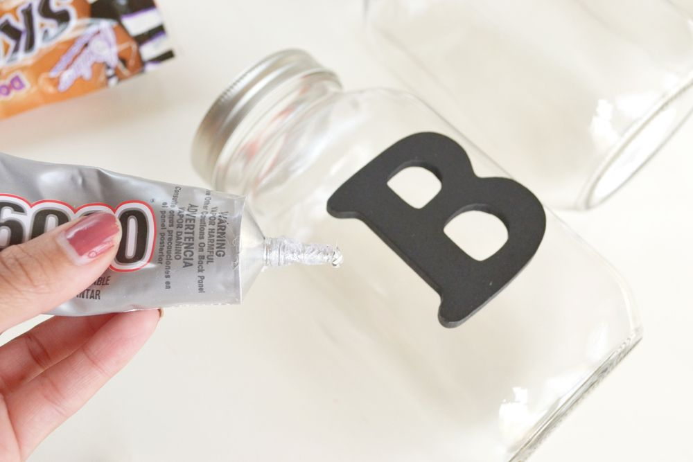 Halloween Boo Candy Jars Glue
