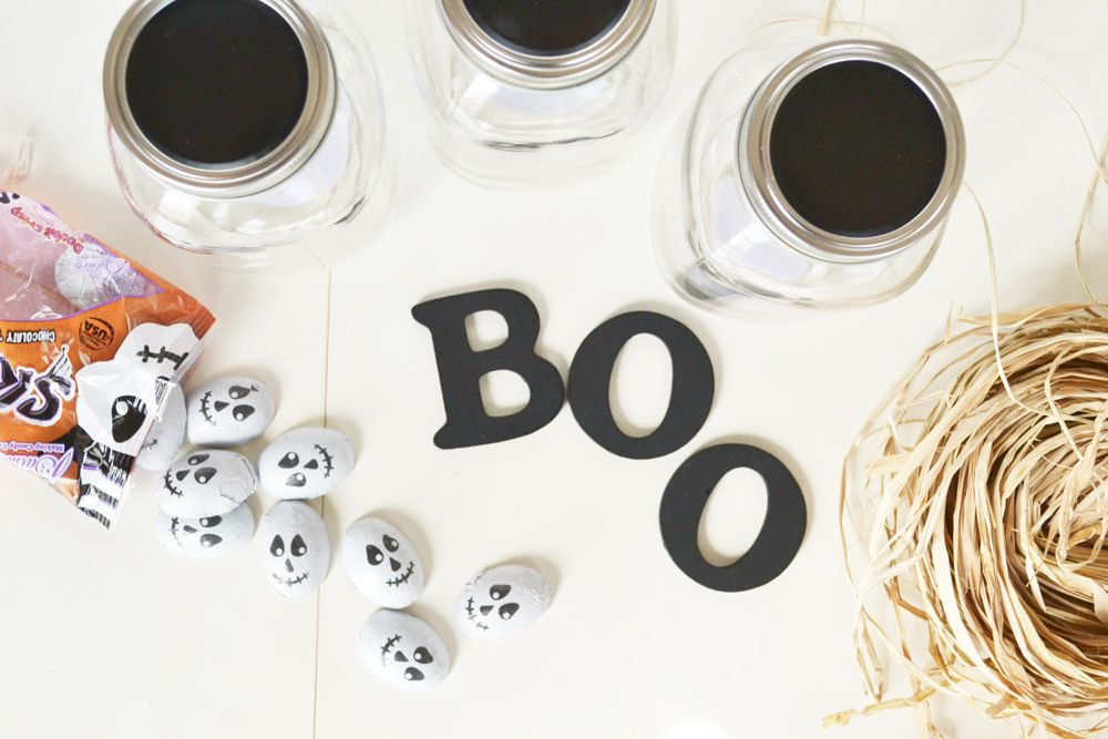 Halloween Boo Candy Jars materials