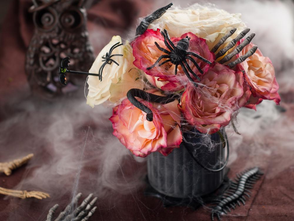 Halloween bouquet with flowers