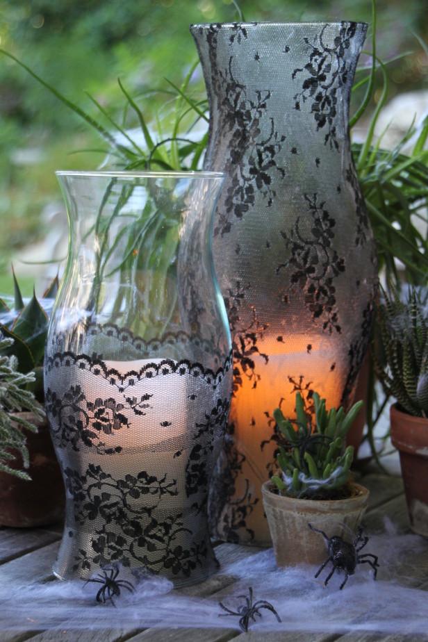 Halloween Lace Vase DIY