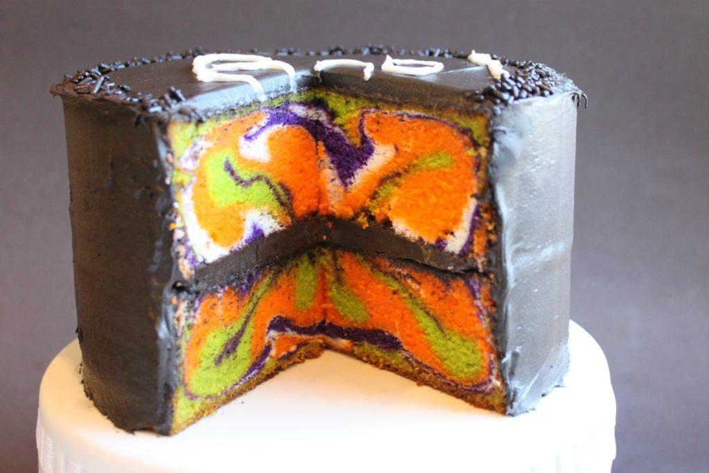 Halloween Marble Book Cake