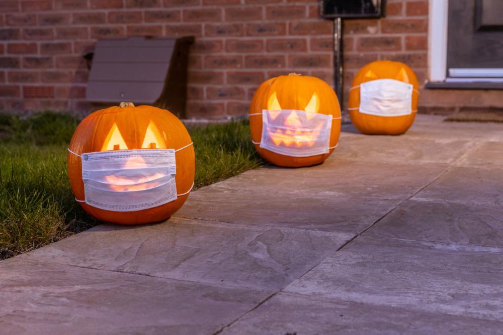 Halloween pumpkins with face masks