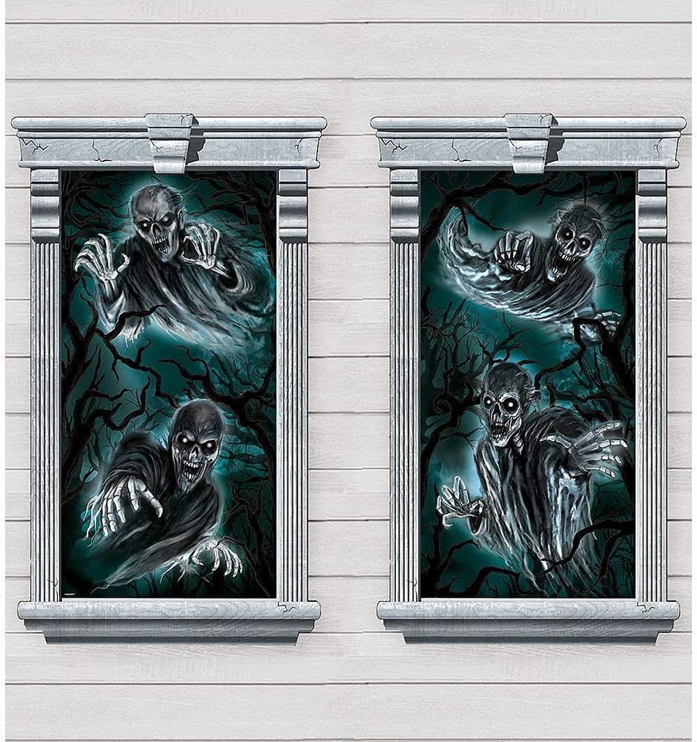 Haunted house window silhouettes halloween window decor