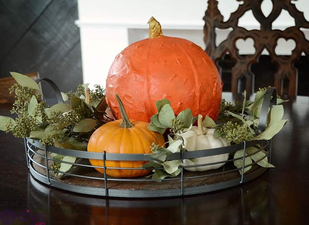 Paper maché pumpkin diy centerpieces