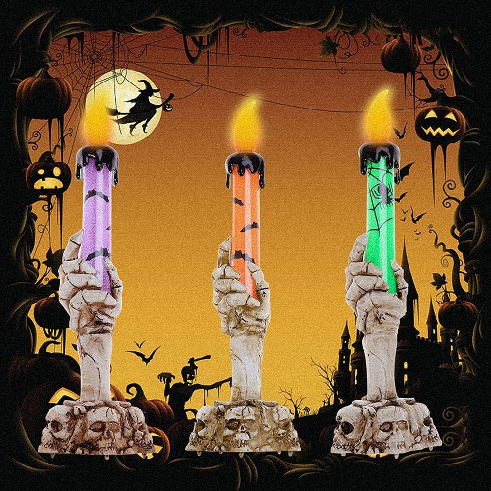 Skull candle holder lights halloween aesthetic ideas