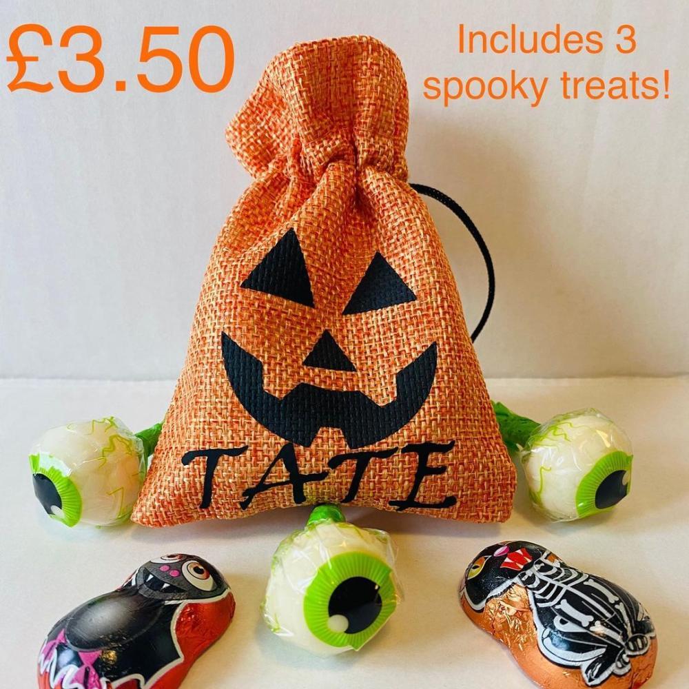 Small halloween treat bags pumpkin fabric bag