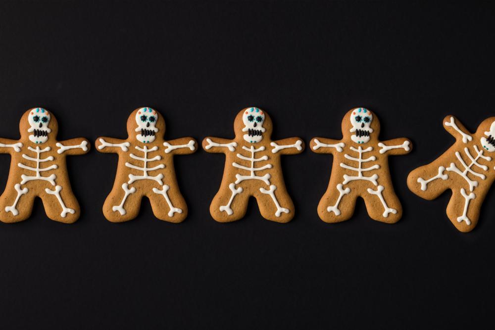 Spooky skeleton halloween cookies